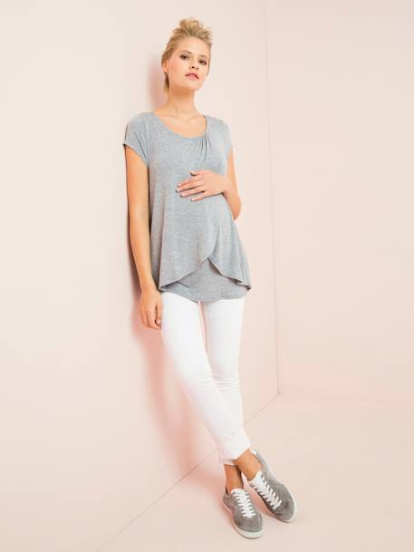 Maternity & Nursing Cross-Over T-Shirt Light grey marl - vertbaudet enfant