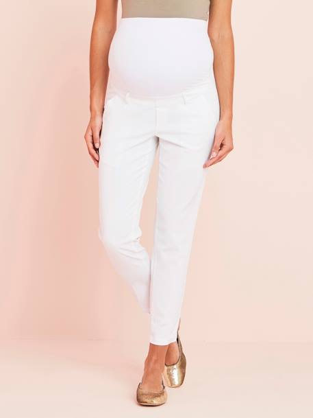 Maternity 7/8 City Trousers WHITE LIGHT SOLID - vertbaudet enfant