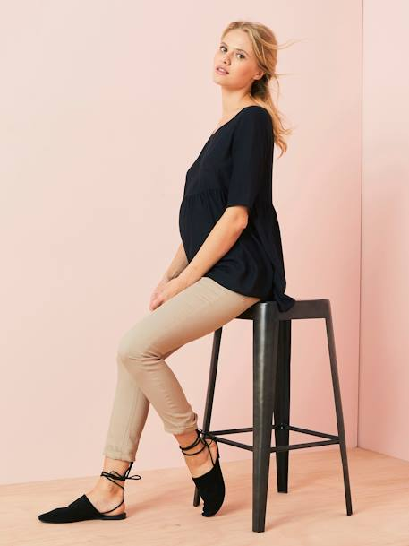 Loose-Fitting Maternity Blouse BLACK DARK SOLID+BLUE MEDIUM STRIPED+ORANGE LIGHT ALL OVER PRINTED - vertbaudet enfant