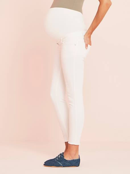 7/8 Maternity Slim Fit Jeans with Tears BLUE MEDIUM WASCHED+WHITE LIGHT SOLID - vertbaudet enfant