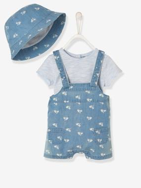 Baby-Outfits-Baby Boys' Denim Outfit: Bodysuit, Dungarees & Hat