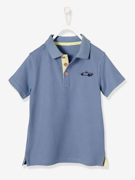 Boys' Polo Shirt, Printed on the Back BLUE MEDIUM SOLID WITH DESIGN+YELLOW LIGHT SOLID WITH DESIGN - vertbaudet enfant