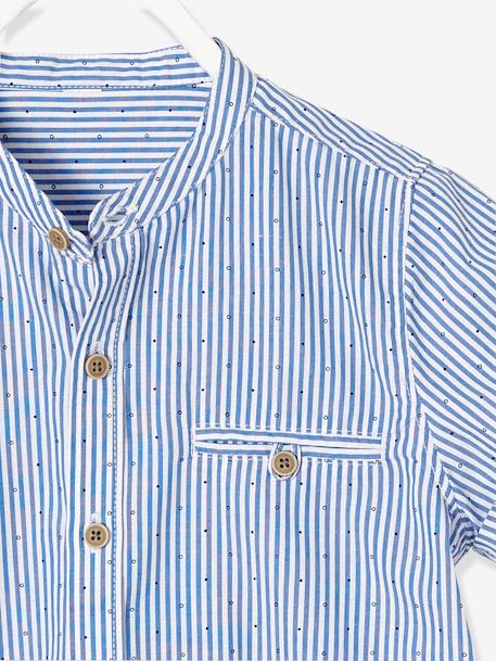 Boys' Mandarin Collar, Short-Sleeved Shirt BLUE LIGHT STRIPED - vertbaudet enfant