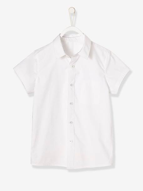 Boys' Short-Sleeved Plain Shirt BLUE MEDIUM SOLID+WHITE LIGHT SOLID - vertbaudet enfant