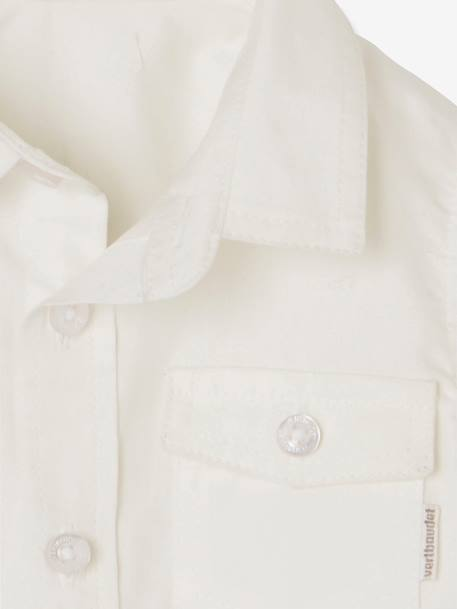 Baby Boys' Shirt with Pocket on the Chest BLUE LIGHT ALL OVER PRINTED+WHITE LIGHT SOLID WITH DESIGN - vertbaudet enfant