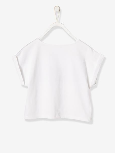 Girls' Printed T-shirt with Glossy Effect WHITE LIGHT SOLID WITH DESIGN - vertbaudet enfant