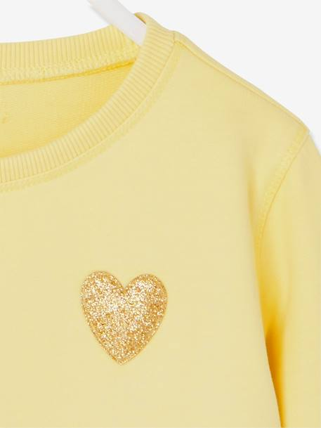 Girls' Pretty Sweatshirt PINK LIGHT SOLID WITH DESIGN+YELLOW LIGHT SOLID WITH DESIGN - vertbaudet enfant