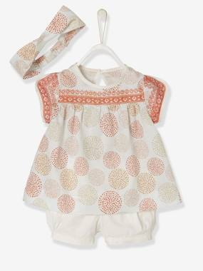 Party collection-Baby-Baby Girls' Blouse + Shorts + Headband Outfit