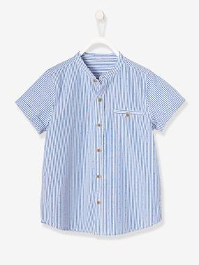 Boys-Shirts-Boys' Mandarin Collar, Short-Sleeved Shirt