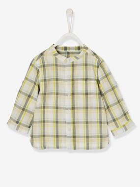 Outlet-Baby Boys' Shirt with Large Tri-Colour Checks