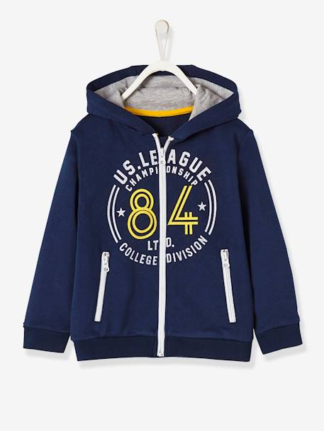 Boys' Jacket with Zip and Hood BLUE DARK SOLID WITH DESIGN+RED DARK SOLID WITH DESIGN - vertbaudet enfant