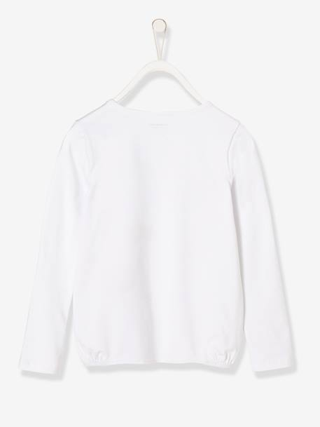 Girls' Long-Sleeved Printed Top WHITE LIGHT SOLID+WHITE LIGHT SOLID WITH DESIGN - vertbaudet enfant