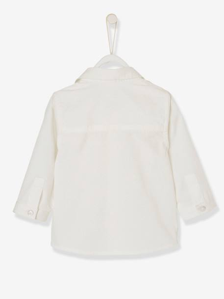 Baby Boys' Shirt with Pocket on the Chest WHITE LIGHT SOLID WITH DESIGN - vertbaudet enfant