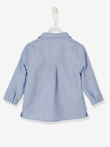 Baby Boys' Double-Sided Shirt BLUE LIGHT SOLID - vertbaudet enfant