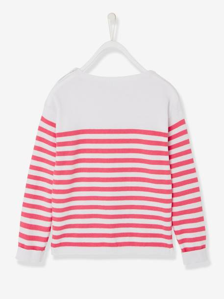 Girls' Sailor-Style Top BLUE DARK STRIPED+RED LIGHT STRIPED+YELLOW MEDIUM STRIPED - vertbaudet enfant