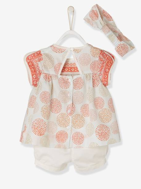 Baby Girls' Blouse + Shorts + Headband Outfit PINK LIGHT ALL OVER PRINTED - vertbaudet enfant