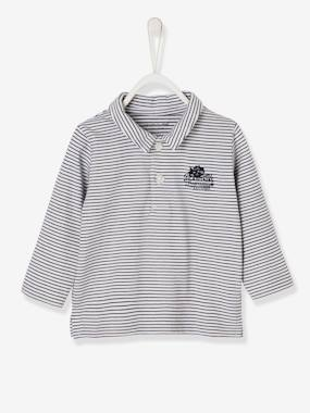Megashop-Baby-Baby Boys' Long-Sleeved Polo Shirt, Motif on the Back