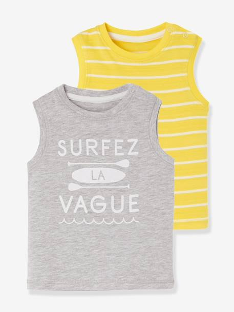 Baby Boys' Pack of Beach-style Tank Tops GREY LIGHT TWO COLOR/MULTICOL+WHITE LIGHT TWO COLOR/MULTICOL - vertbaudet enfant