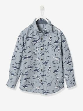 navy shark boy-Boys' Printed Poplin Shirt