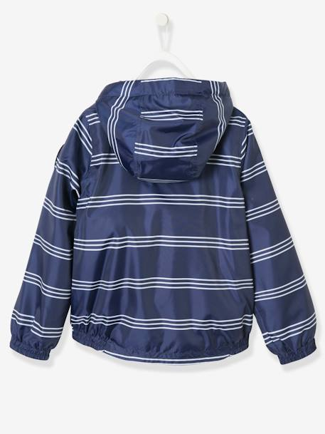 Boys' Windcheater BLUE DARK STRIPED+GREEN DARK ALL OVER PRINTED - vertbaudet enfant