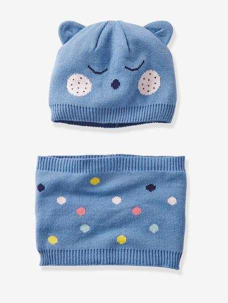 Babies' Beanie with Ears and Snood, with Polka Dots BLUE MEDIUM SOLID WITH DESIGN - vertbaudet enfant