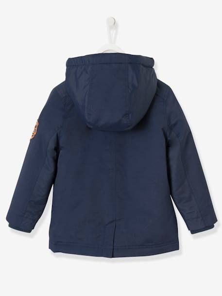 Boys' Duffle-Style Parka BLUE DARK SOLID WITH DESIGN+GREEN MEDIUM SOLID WITH DESIG - vertbaudet enfant