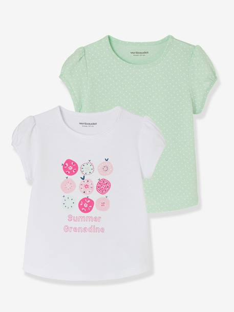 Pack of 2 Baby Girls' Assorted Tops GREEN LIGHT 2 COLOR/MULTICOLOR+YELLOW LIGHT 2 COLOR/MULTICOL - vertbaudet enfant