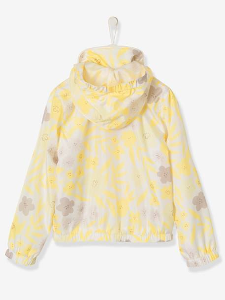 Girl's Jacket with Removable Hood YELLOW MEDIUM ALL OVER PRINTED - vertbaudet enfant