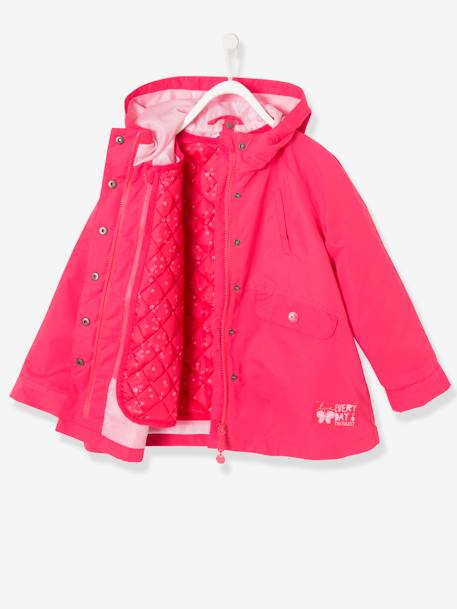 Girl's 3-in-1 Parka GREEN LIGHT SOLID+GREY MEDIUM SOLID+PURPLE DARK SOLID+RED LIGHT SOLID - vertbaudet enfant