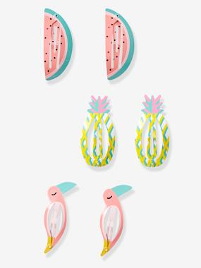 Girls-Accessories-Hair Accessories-Girls' Set of 3 Hair Clips with Tropical Motif