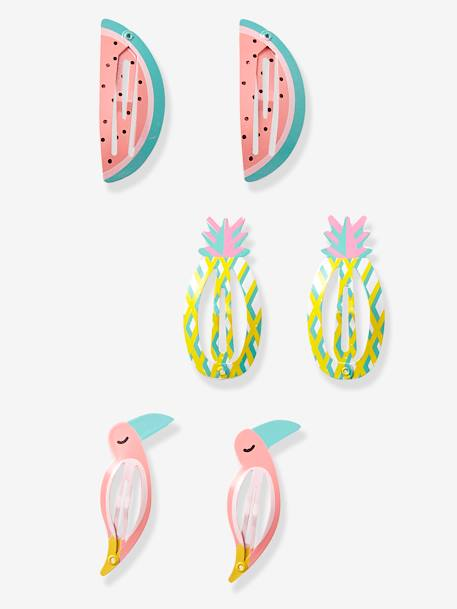 Girls' Set of 3 Hair Clips with Tropical Motif RED DARK SOLID WITH DESIGN - vertbaudet enfant