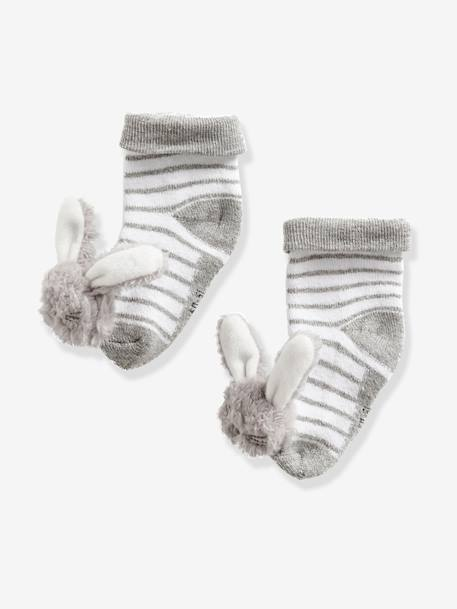 Babies' Stylish Pair of Socks GREY LIGHT STRIPED - vertbaudet enfant