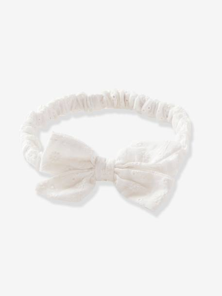 Girls' Broderie Anglaise Headband WHITE LIGHT SOLID - vertbaudet enfant