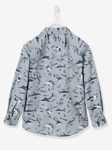 Boys' Printed Poplin Shirt BLUE LIGHT ALL OVER PRINTED+BLUE MEDIUM ALL OVER PRINTED - vertbaudet enfant