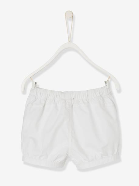Baby Girls' Shorts with Poplin Frill WHITE LIGHT SOLID+YELLOW MEDIUM SOLID - vertbaudet enfant