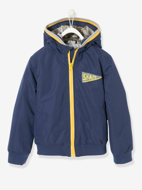 Boys' Puffer Jacket BLUE DARK SOLID WITH DESIGN - vertbaudet enfant