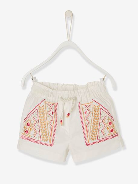 Baby Girls' Embroidered Shorts: PINK MEDIUM SOLID WITH DESIG+WHITE LIGHT SOLID WITH DESIGN - vertbaudet enfant