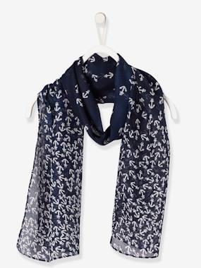 navy shark boy-Girls' Square Scarf with Print