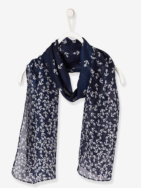 Girls' Square Scarf with Print BLUE DARK ALL OVER PRINTED - vertbaudet enfant