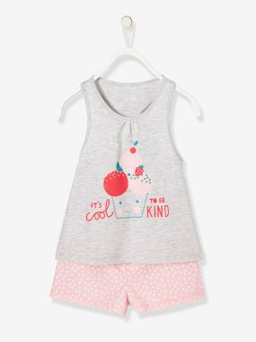 Girls-Nightwear-Girls' Dual Fabric Pyjamas with Shorts