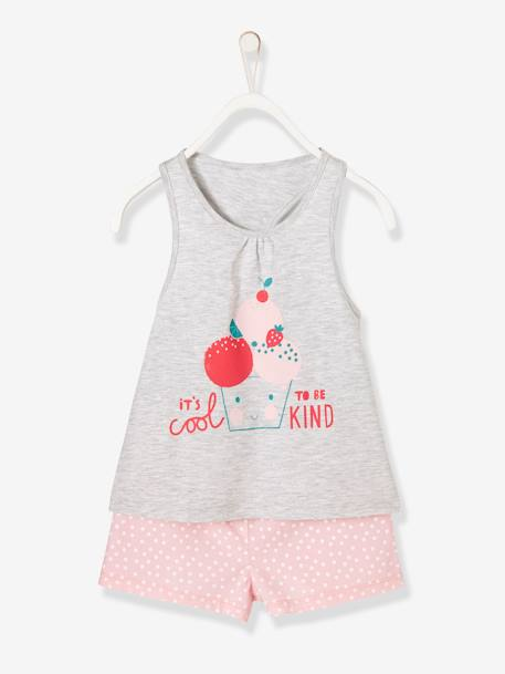 Girls' Dual Fabric Pyjamas with Shorts GREY LIGHT MIXED COLOR - vertbaudet enfant