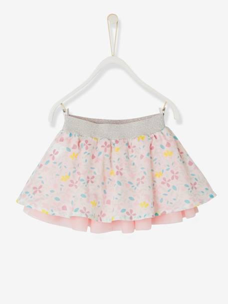 Baby Girls' Reversible Skirt PINK LIGHT SOLID+WHITE LIGHT SOLID - vertbaudet enfant
