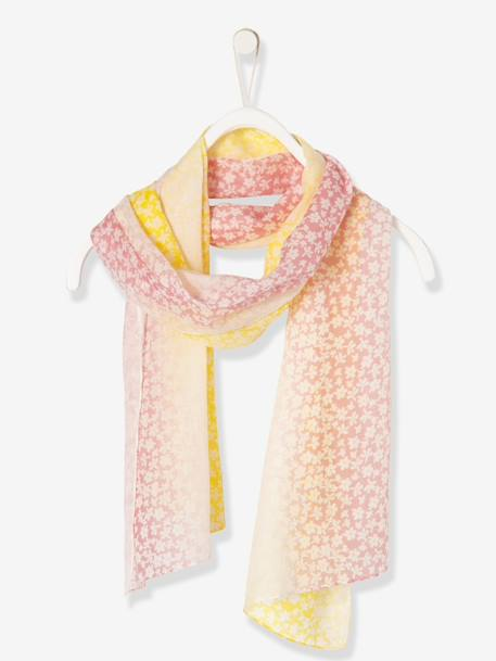 Girls' Two-Tone Square Scarf, with Print PINK MEDIUM ALL OVER PRINTED - vertbaudet enfant