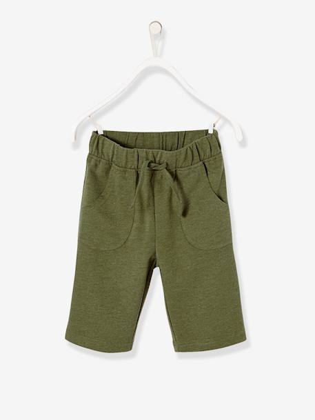 Boys' Dual Fabric Pyjamas with Shorts GREEN DARK SOLID WITH DESIGN - vertbaudet enfant
