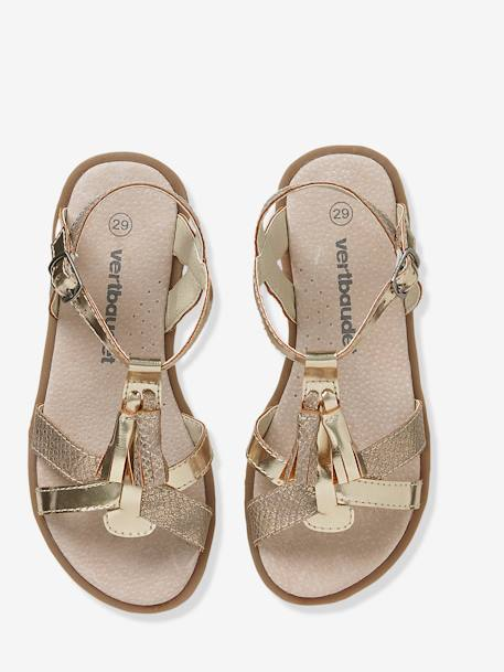 Girls Sandals BEIGE MEDIUM METALLIZED+Pink+White/silver - vertbaudet enfant