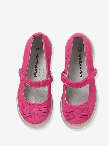Girls' Leather Ballerina Shoes with Touch 'n' Close Fastening Tab BLUE DARK ALL OVER PRINTED+GREY MEDIUM METALLIZED+PINK MEDIUM ALL OVER PRINTED - vertbaudet enfant
