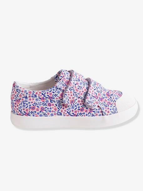 Girls' Fabric Trainers with Touch 'n' Close Fastening Tab BLUE LIGHT ALL OVER PRINTED+WHITE MEDIUM ALL OVER PRINTED - vertbaudet enfant