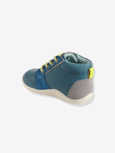 Boys' First Steps Leather Boots BLUE MEDIUM SOLID WITH DESIGN+WHITE MEDIUM SOLID WITH DESIGN - vertbaudet enfant