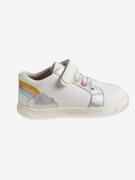 Girls' Leather Trainers, Autonomy Collection WHITE LIGHT SOLID WITH DESIGN - vertbaudet enfant