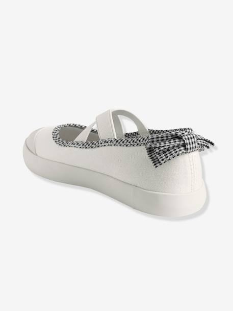 girls ballerina shoes in fabric grey light metallized shoes